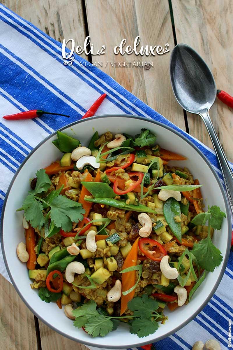 Orientalisch gebratene Haferflocken mit Gemüse 🥕🥕