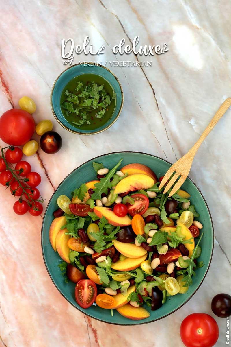 veganer Tomaten Bohnen Salat mit Pfirsich 🥕🥕