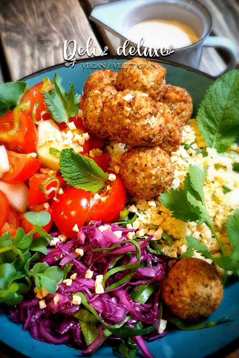 Falafel Bowl mit Orangen-Kräuter-Couscous 🥕🥕